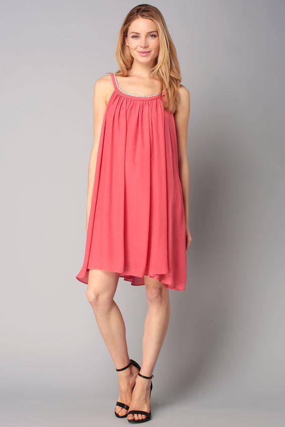 Trapezium dress - s16c03241 - Orange/Coral: