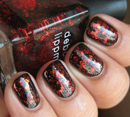 Black and Red Glitter Nail Art