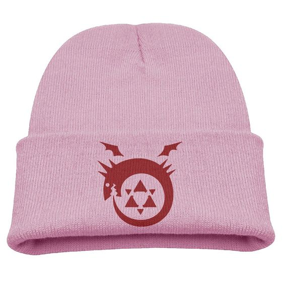 Fullmetal Alchemist Logo Kids Skullies And Beanies Pink. Surface Material: 85% Cotton. Knit Skullies. Stylish Outdoor Activities. 7.8 Inch Depth. Hand Wash.