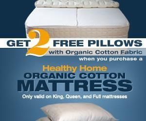 organic cotton mattress free pillows