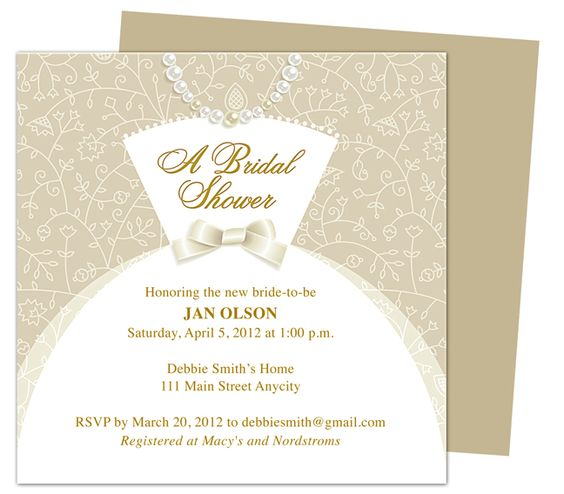 Dress bridal shower invitation templates printable diy for Wedding dress bridal shower invitations