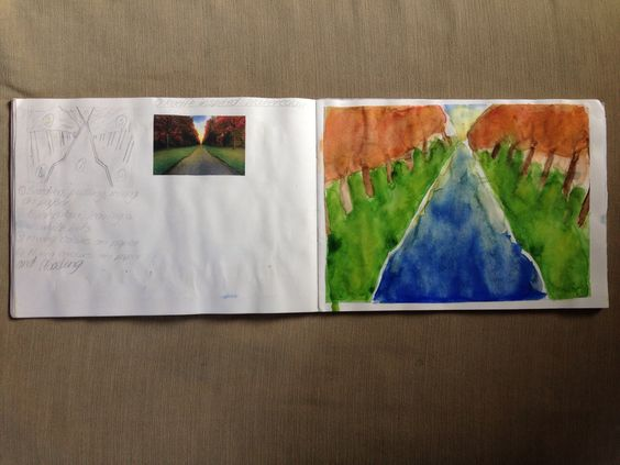 O'Keeffe inspired watercolour by y9 student LB- Mrs Howey's class.