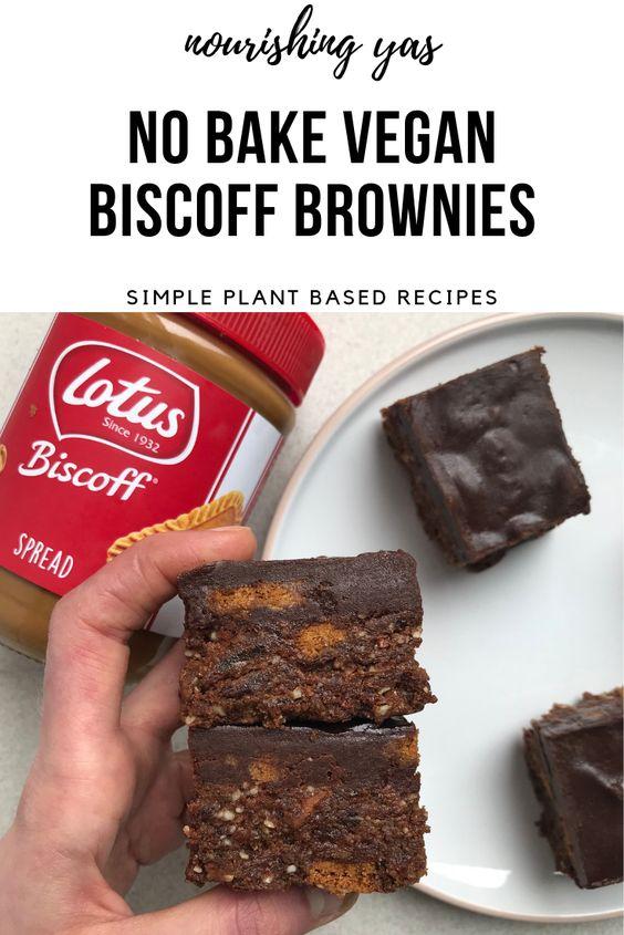 No Bake Vegan Biscoff Brownies