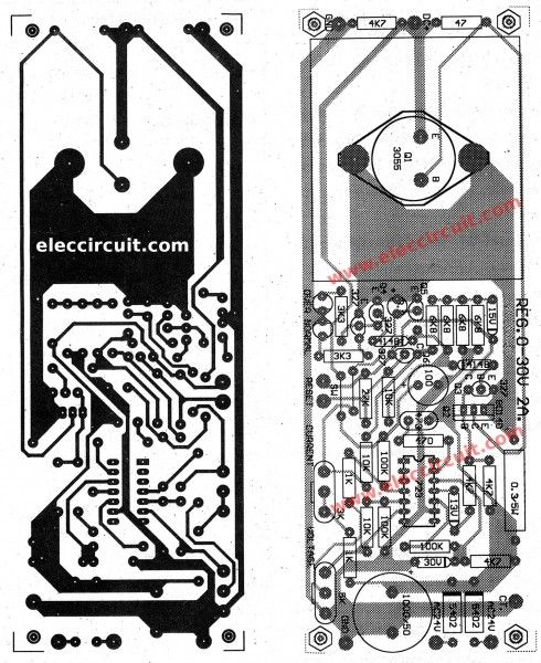 Variable Power Supply Circuit 0 50v At 3a With Pcb Eleccircuit Com Power Supply Circuit Circuit Diagram Switched Mode Power Supply