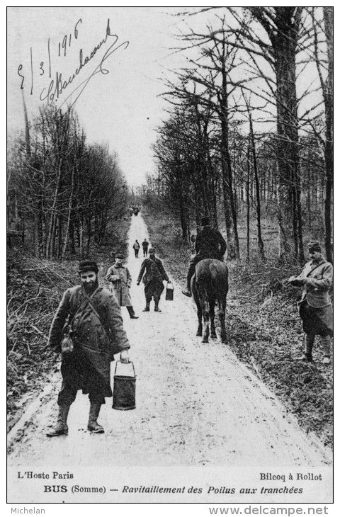 WW1, Somme. Poilu with water or wine to supply the troops in the trenches.