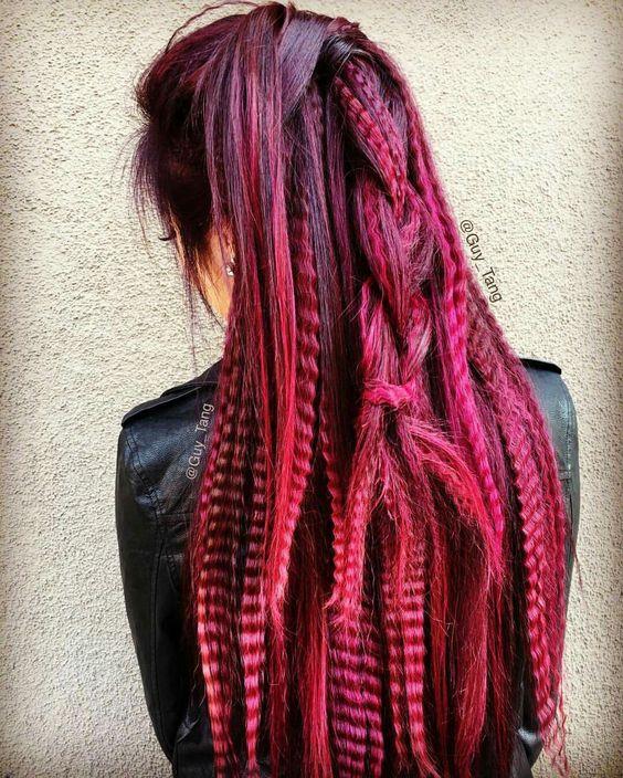 Burgundy dyed hair #guytang