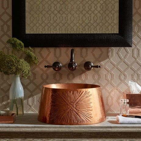 Hand-crafted copper sink design by @ThompsonTraders  http://ow.ly/hTz33094vYR #CopperOnModenus #Copperdesign #Sinkdesign