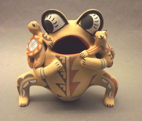 Jemez Pueblo Frog Storyteller with Turtle and Frog by E.F. Tsosie (Jemez Pueblo)