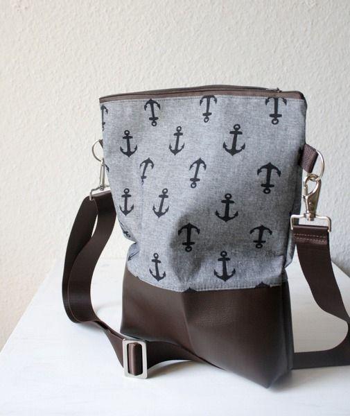 Umhängetasche Anker Stoff Kunstleder braun/grau // messenger bag anchor pleather…