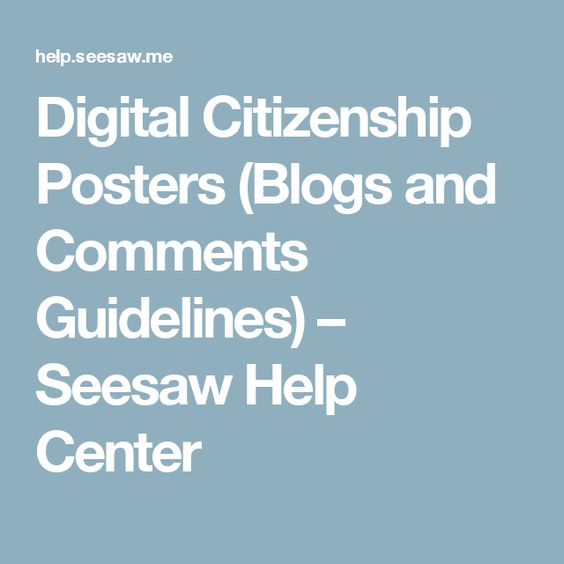 Digital Citizenship Posters (Blogs and Comments Guidelines) – Seesaw Help Center