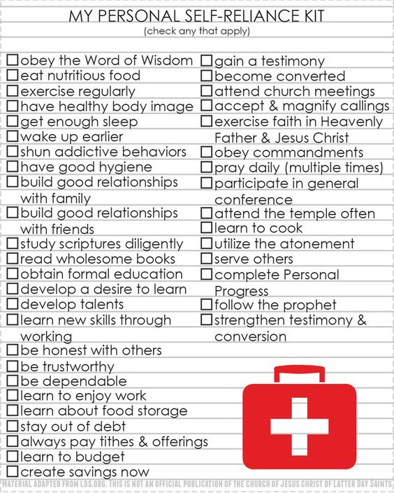 My Personal Self-Reliance Kit checklist. What does it mean to be self-reliant? handouts from LDS NEST for Come, Follow Me
