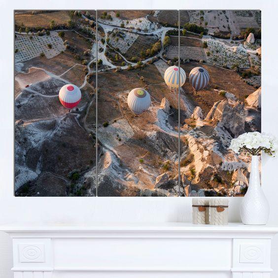 Designart 'Flight with Balloons at Sunrise' Landscape Wall Art Print Canvas