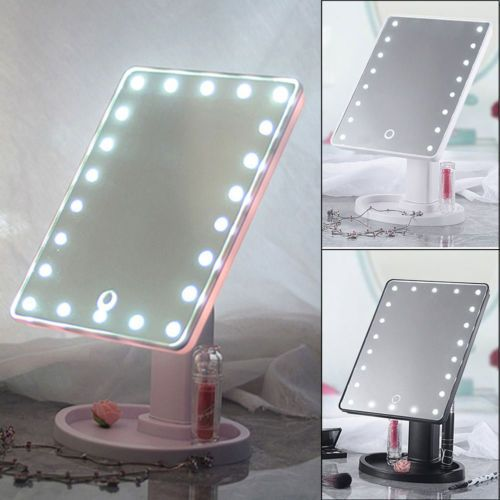 Portable 22 Led Touch Screen Makeup Mirror Tabletop Cosmetic Light