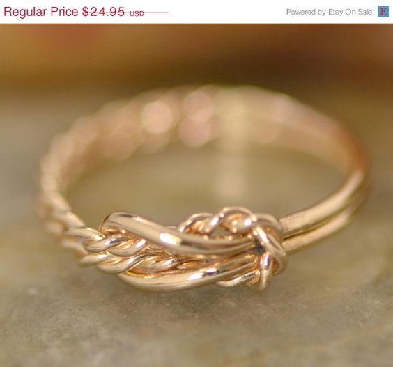 VENTE Infinity noeud - noeud plat - infini-bijoux de noeud - noeud d'amour anneau - or rempli - fait main