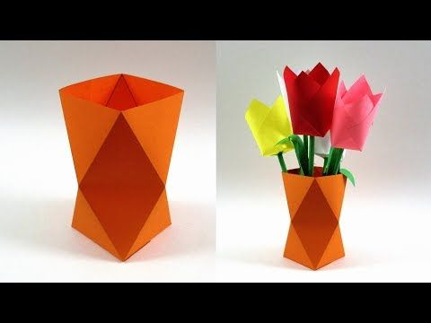How To Make A Paper Vase Easy Paper Craft Youtube In 2020