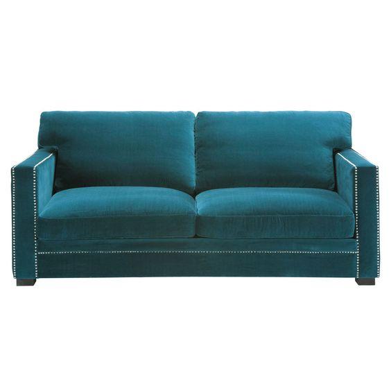Sofá 3/4 plazas fijo terciopelo azul  DANDY