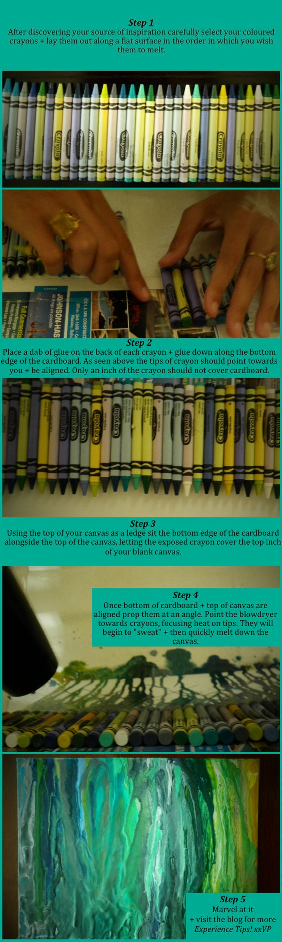 How to make melted crayon art...without gluing the crayon to the canvas!