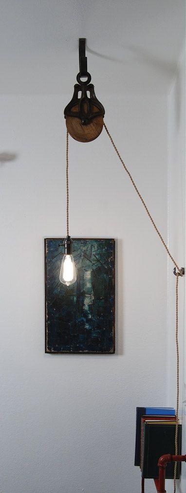 Antique Cast Iron & Wood Pulley Lamp - Vintage Industrial Edison Fixture