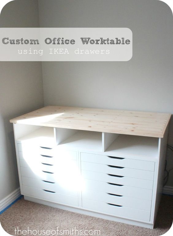 From Ikea Alex Drawers To Custom Work Table Nice Idea