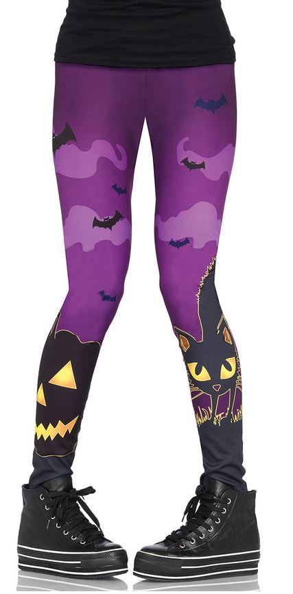 Creepy scaredy cat and bat! all over print leggings  95% polyester 5% spandex    imported