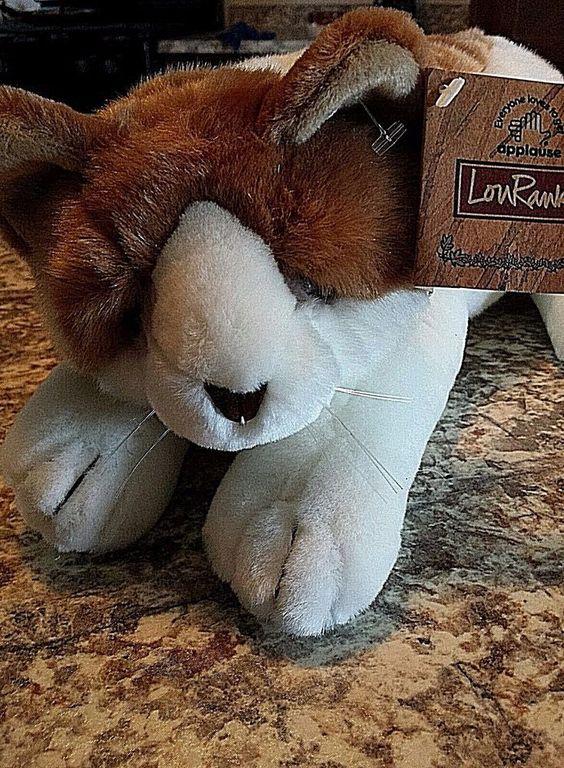 "Lou Rankin Cat Sasha soft plush white & brown 14.5"" realistic plus 8"" Tail #Applause"