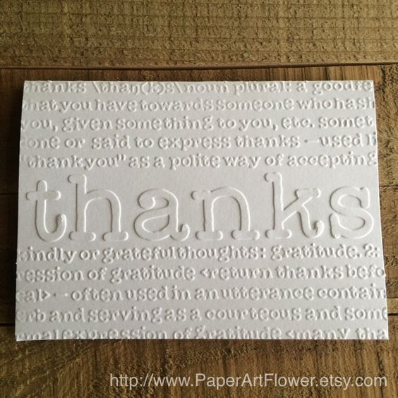 Thanks Define White Embossed Note Cards, Stationary Set, Greeting Card, Thank You Card, Definition of Thanks, Blank Note Card Set by PaperArtFlower on Etsy