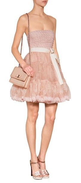 New 2014 AUTH Red Valentino Pink Silk Strapless Dress with Tiered Tulle Skirt #REDVALENTINO #fitandflare #Casual