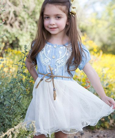 Loving this Chambray Lace Dress - Toddler on #zulily! #zulilyfinds
