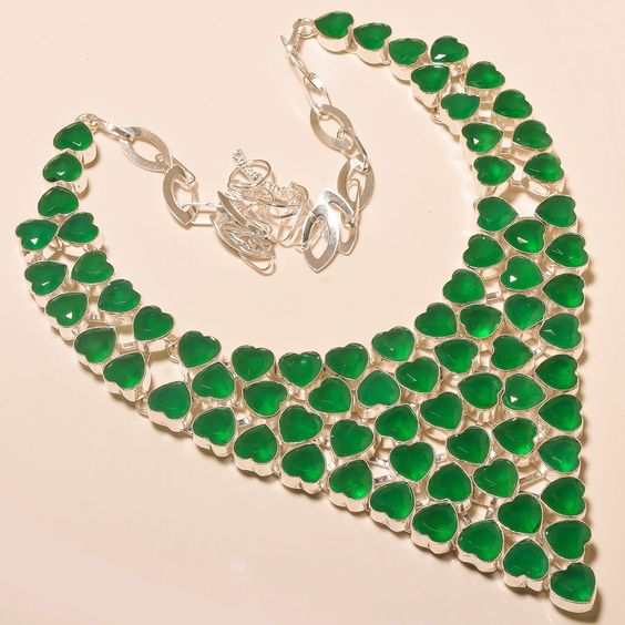 HEART SHAPE SAKOTA MINE EMERALD EXCELLENT - 925 SILVER JEWELRY NECKLACE 18""