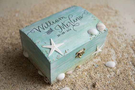 This is incredible! Unique work by  Signature Wedding Details http://www.bridestory.com/signature-wedding-details/projects/beach-themed-wedding-ring-box
