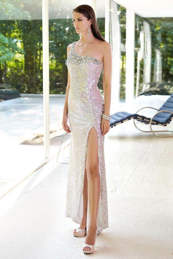 one shoulder sequin crystals empire open back long prom dress – Wegodress.com
