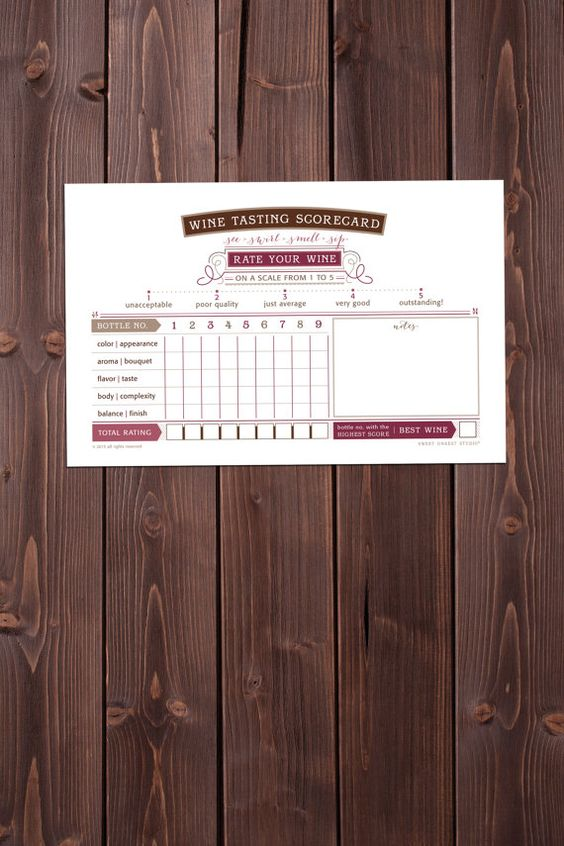 our scorecard is perfect for wine tasting events!     - 8.5 x 5.5 - option to choose the number of bottles planned for your event!  -