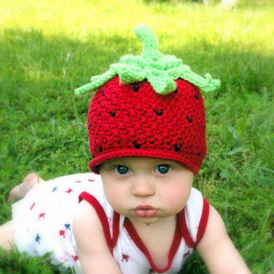 CROCHET PATTERN 208  Baby Strawberry Beanie by TwoGirlsPatterns, $5.50