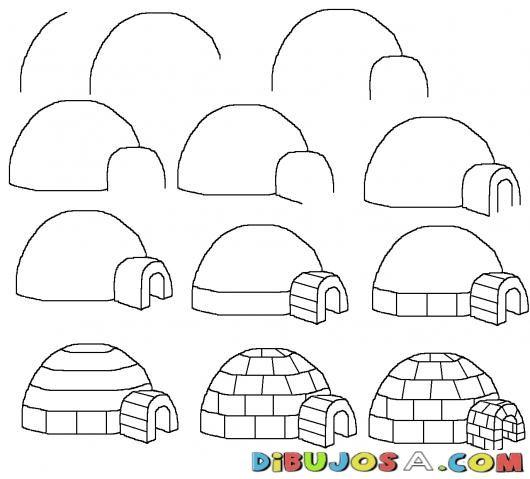 Como aprender a dibujar un igloo para pintar y colorear - Aprender a pintar ...