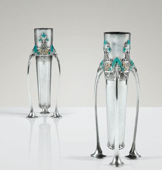 Jules-Auguste Habert-Dys, enamelled silver vases, 1904