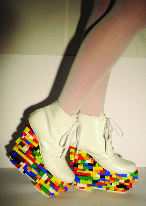 lego platform shoes, lego heels, colorful, fashion diy, easy diy ...