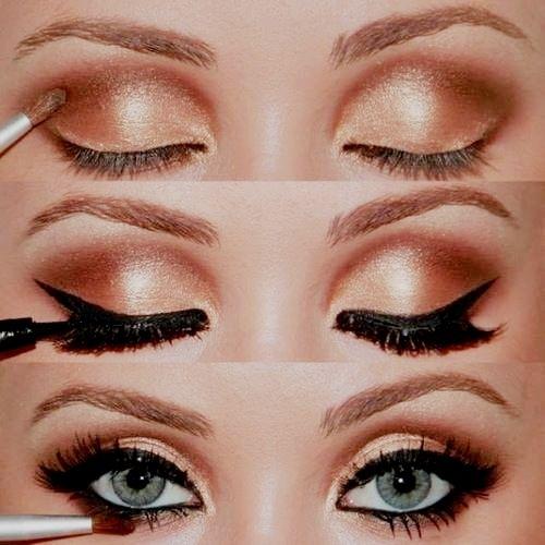 eyes: Pretty Eye, Cat Eye, Eyeshadow, Blue Eye, Eyemakeup, Smokey Eye, Gold Eye, Makeup Idea