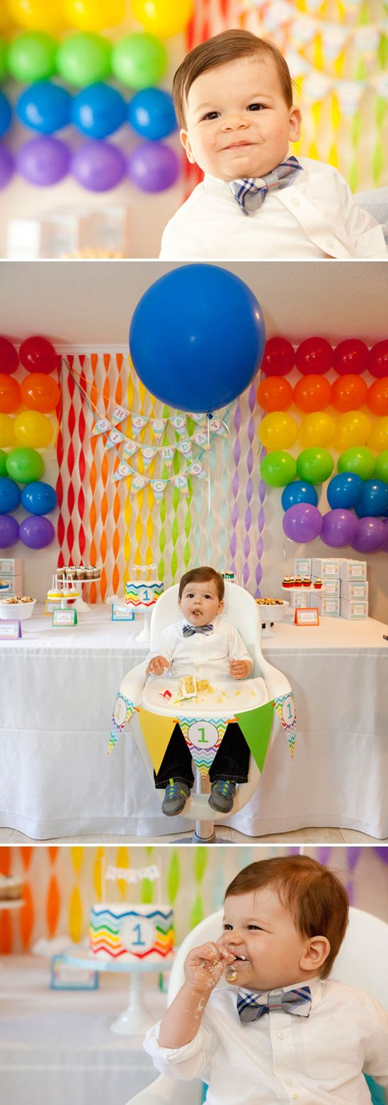 An inexpensive backdrop of balloons and streamers