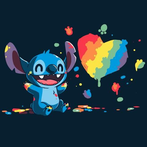 Paw Painting Stitch T Shirt Mens S In 2020 Cute Disney Drawings Cute Disney Wallpaper Stitch Drawing