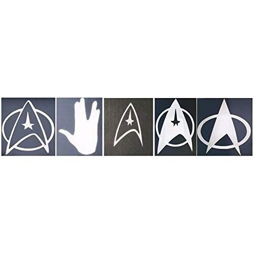 Set Of 5 Star Trek Sticker Decals Fleet Insignias Amp Vulcan Collection In Glossy White Cell Phone Helmet Tablet Side Car Mirrors