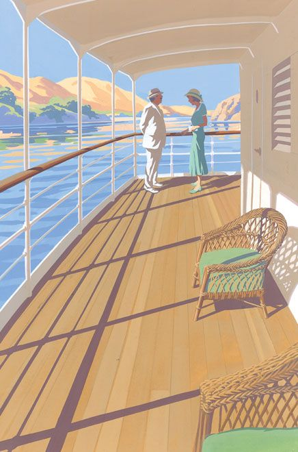 Death on the Nile by Agatha Christie.  Folio edition. Illustration by Andrew Davidson.: