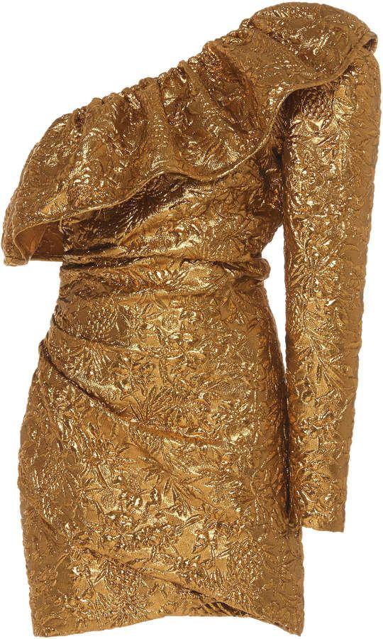 Giuseppe di Morabito Womens One Shoulder Mini Dress Black Gold Sequin Size 38
