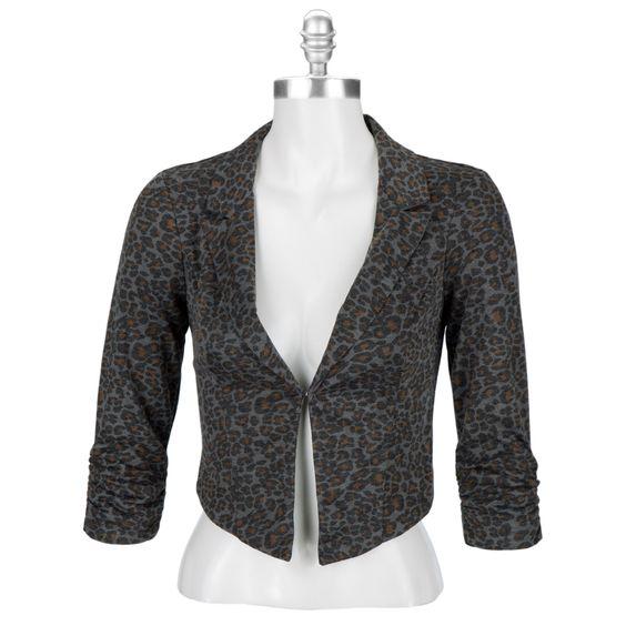 Stoosh Juniors Ruched Leopard Print Blazer #VonMaur ( VIP Fashion Australia www.vipfashionaustralia.com - cute dresses for cheap )