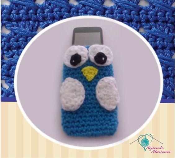 Modelo Nº 7Porta celular Búho, protege de forma original tu celular #Crochet #buho