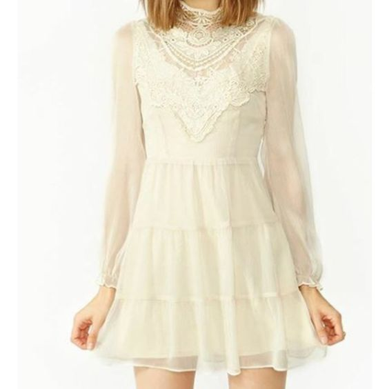 Florence crochet dress Beautiful high neck dress, with lace detail, and gathered sleeves . Dresses
