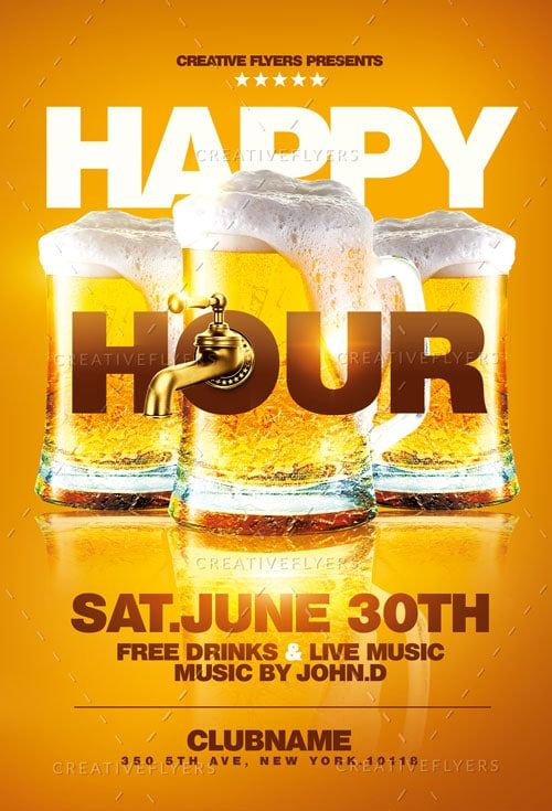 Happy Hour Phappy Hour Flyer Template Photoshop Psd Creative Flyersarty Flyers Psd Templates Creative Flyers Beer Poster Design Creative Flyers Happy Hour Beer