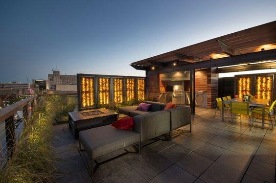 Holz Zaun Beleuchtung LED Lichterkette Dachterrasse Sichtschutz ...