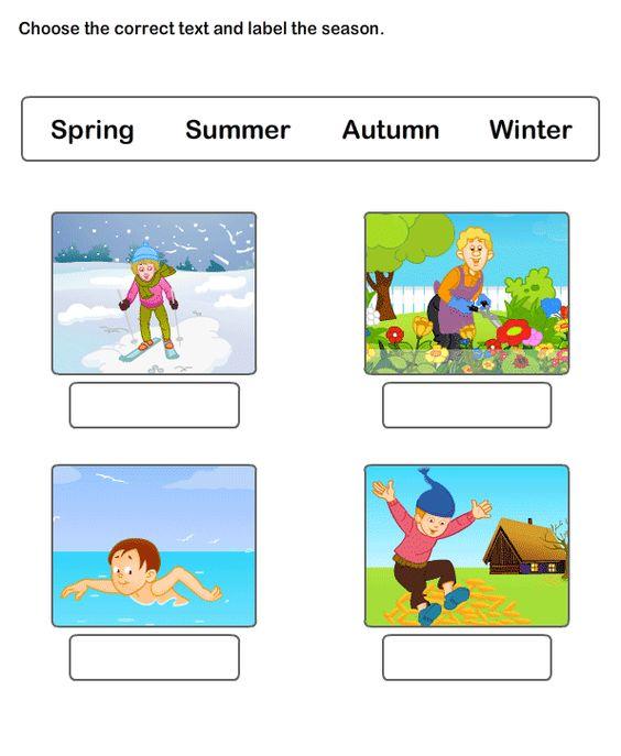 Free Worksheets On Seasons Esl Worksheets For Kids Seasons Worksheets Kindergarten Worksheets Worksheets For Kids Kindergarten evs worksheets