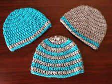 Newborn Baby Boy Bright Blue Gray Crochet Beanie Hat Shower Gift Set Handmade NB