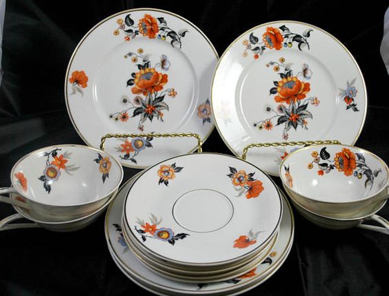 Limoges Porcelain Dinnerware Set   Art Deco   Orange and
